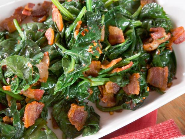 Sauteed Spinach with Bacon, Garlic and Thyme