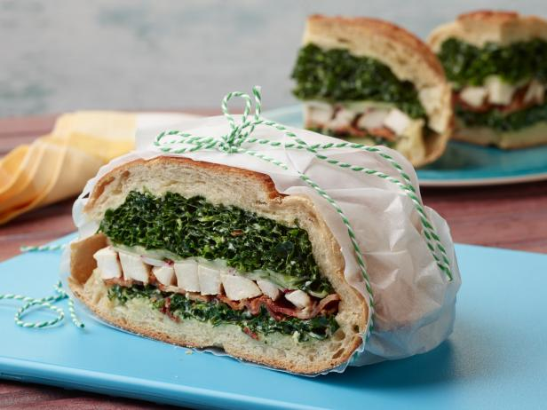 Grilled Chicken and Kale Caesar Pressed Sandwich