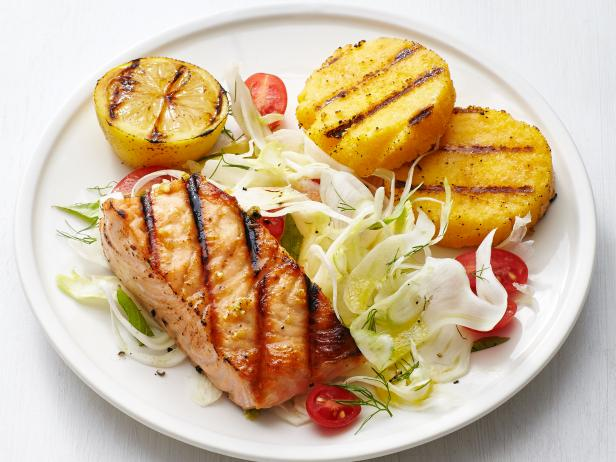 grilled salmon and polenta with fennel salad - Ina Garten Fennel Salad