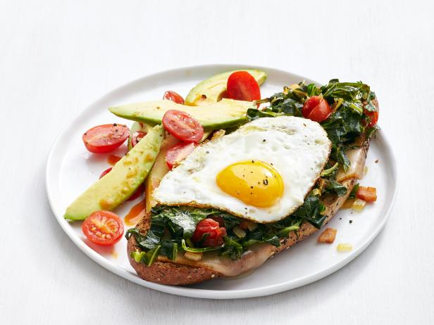 Open-Face Egg and Collards Sandwiches