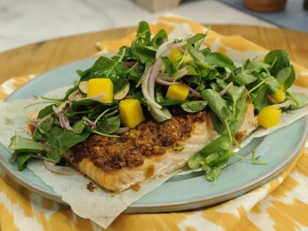 BBQ Potato Chip-Crusted Salmon with Watercress Salad