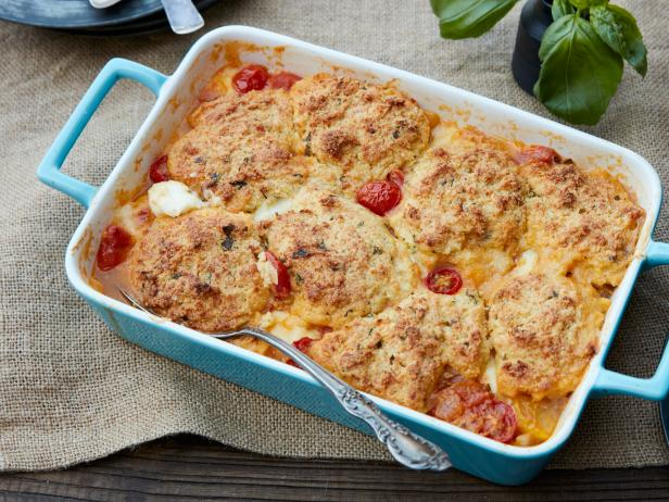 Tomato Cobbler with Parmesan-Basil Biscuits