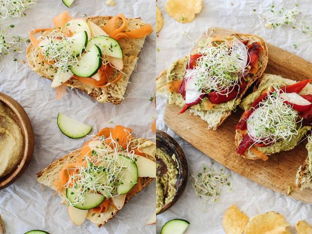 One Recipe, Two Meals: Open-Faced Veggie Sandwiches with Hummus