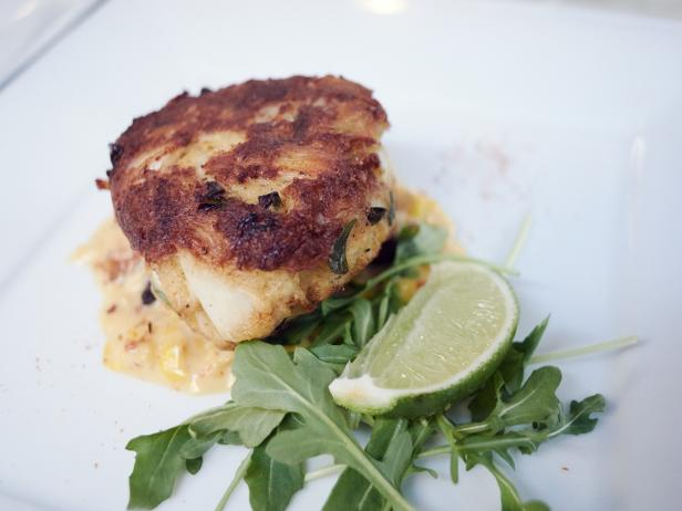 Nantucket Crab Cake with Bacon Maple Cream Corn