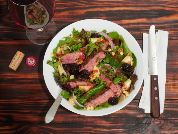 Flank Steak Salad with Grilled Corn and Blackberries