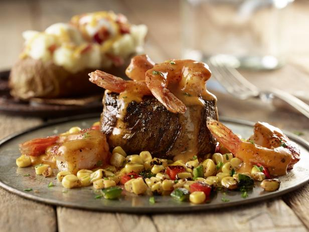Pepper Crusted Filet and Shrimp