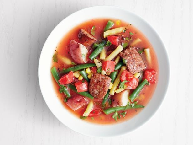 Summer Vegetable Soup with Andouille