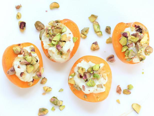 Apricots with Honey-Ginger Ricotta and Pistachio Nuts