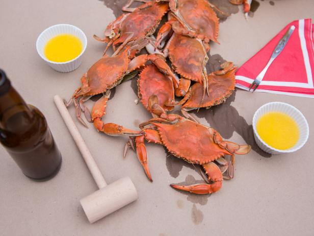 Beer-Poached Blue Crabs with Sweet 'n' Savory Coleslaw