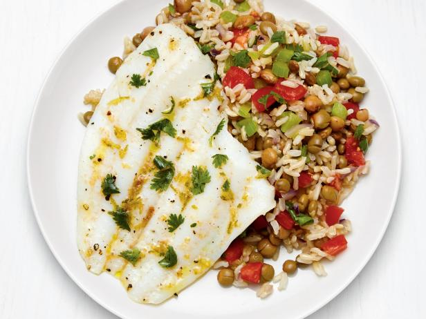 Caribbean Flounder with Pigeon Peas and Rice