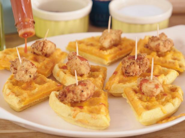Mini Fried Chicken and Cheddar Jalapeno Waffles