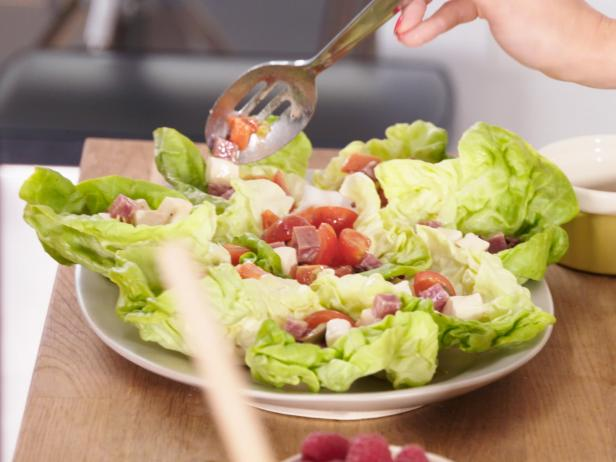 Summer Lettuce Wraps with Sopressata, Mozzarella and Olives