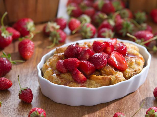 Bread Pudding with Strawberry Sauce