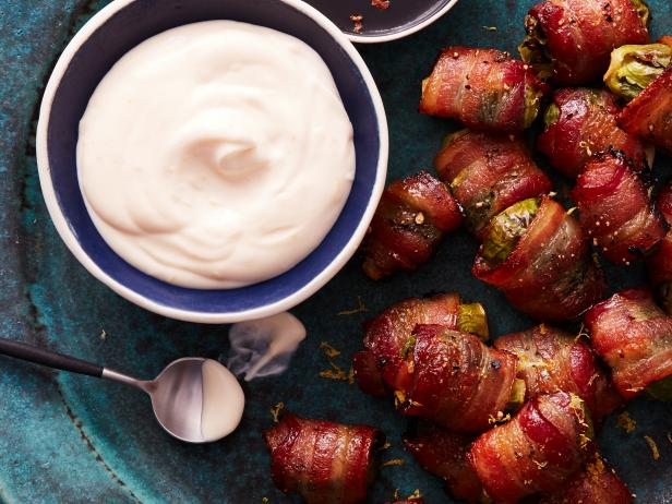 Bacon-Wrapped Brussels Sprouts with Creamy Lemon Dip