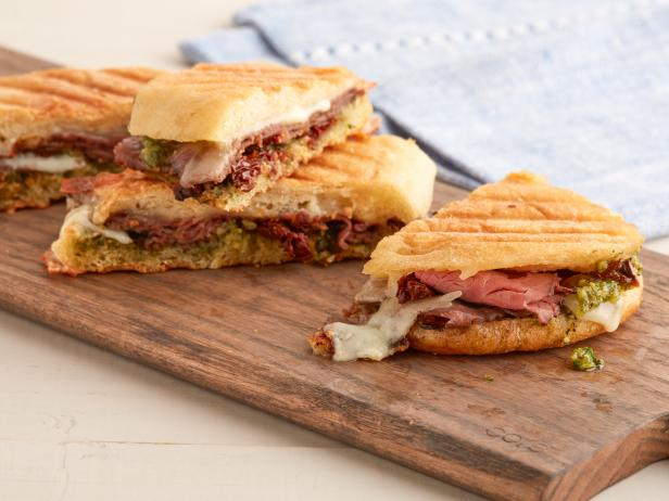 Roast Beef Panini with Walnut Pesto