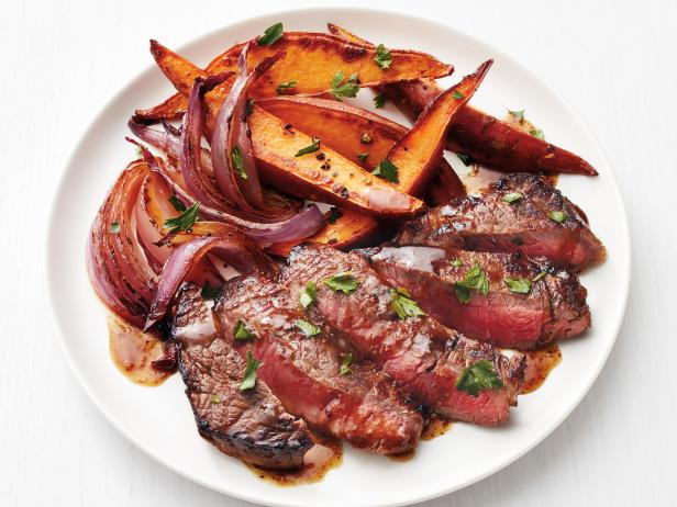 Steak with Beer Sauce and Sweet Potatoes