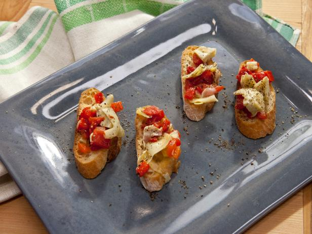 Roasted Pepper and Artichoke Bruschetta