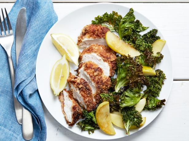 Almond Fried Chicken with Roasted Kale and Apples