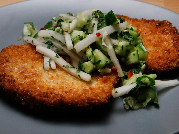 Panko-Crusted Pork Cutlet with Cucumber-Daikon Relish