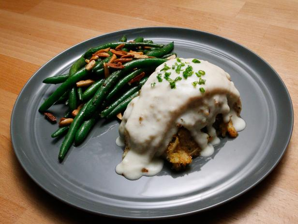 Crab-Stuffed Flounder with Mornay Sauce and Green Beans Almondine