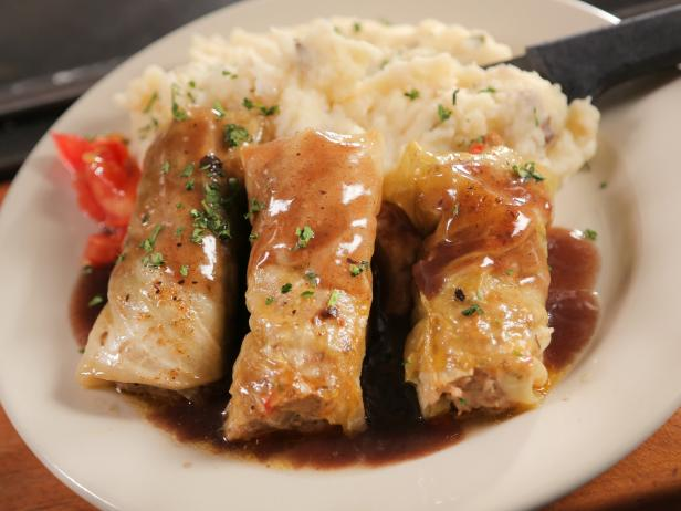 Lamb-Stuffed Cabbage with Red Wine Demi-Glace