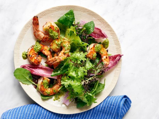 Grilled Shrimp with Walnut Pesto
