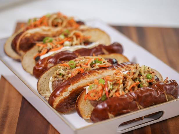 Grilled Bratwurst with Brie and Spiral Apple Slaw
