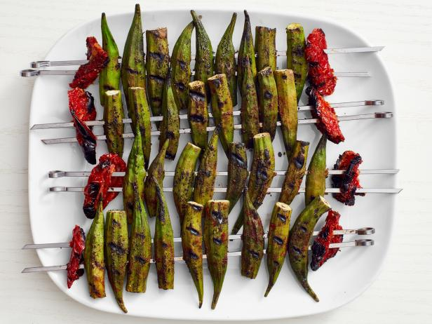 Grilled Okra with Sun-Dried Tomatoes