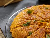 Hash Brown Cake with Dill Sour Cream
