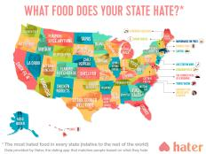 A dating app called Hater has created a map revealing the foods people in each state hate most.