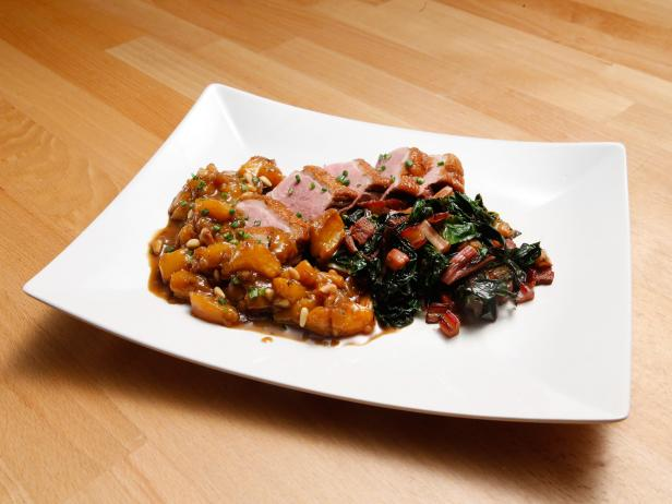 Duck Breast with Peach Chutney and Rainbow Chard with Bacon
