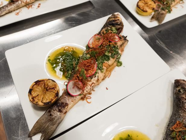 Grilled Whole Fish, Green Tomato and Herb Vinaigrette and Charred Lemon