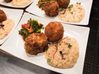 Crawfish Boudin Balls, Andouille Grits and Collard Green Chowchow