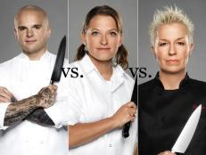In this installment of Food Network's Rival Recipes, Next Iron Chef rivals Nate Appleman, Duskie Estes and Elizabeth Falkner compete in a meatball cook-off.