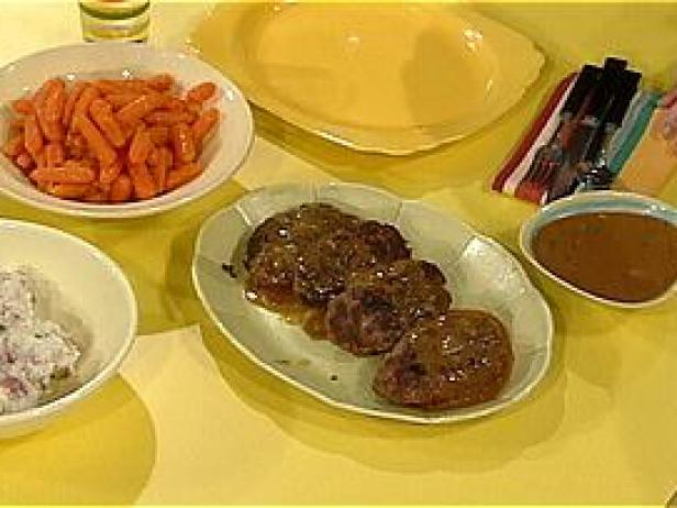 Meatloaf Patties, Smashed Potatoes, and Pan Gravy