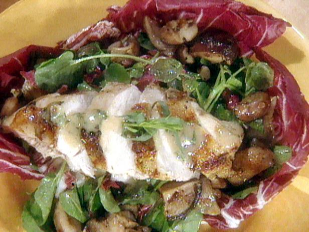Watercress and Radicchio Salad with Barbecued Chicken Breast