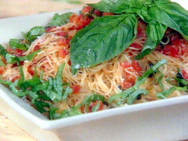 Fresh Tomato, Basil, and Garlic Sauce over Angel Hair Pasta Recipe ...