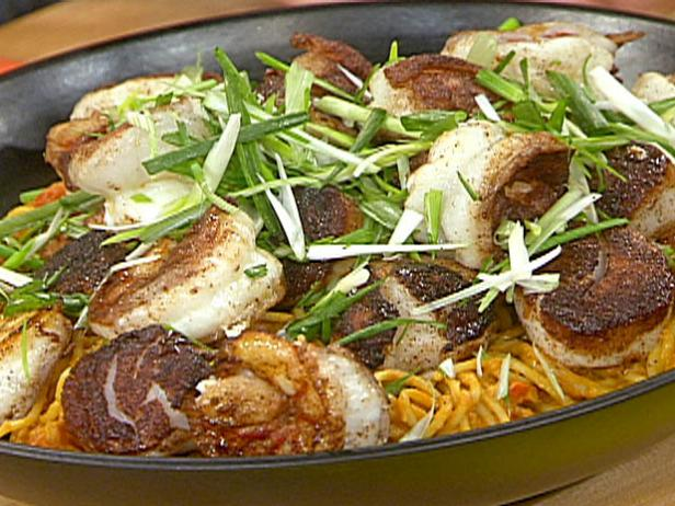 Pumpkin-Peanut Curry Noodles with Five-Spice Seared Scallops and Shrimp