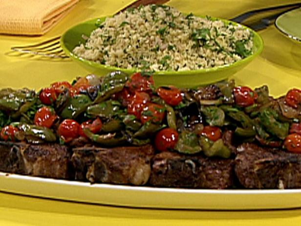 Spiced Lamb Chops on Sauteed Peppers and Onions with Garlic and Mint Couscous