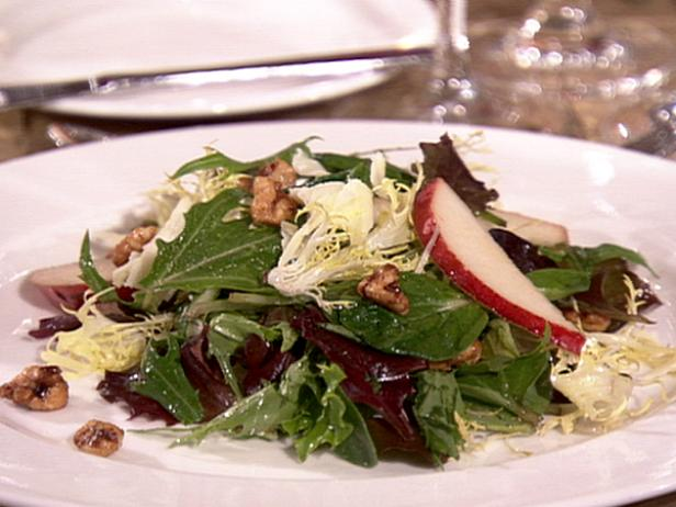 Frisee Salad with Spiced Walnuts, Pears, Farmhouse Cheddar, and Port Vinaigrette