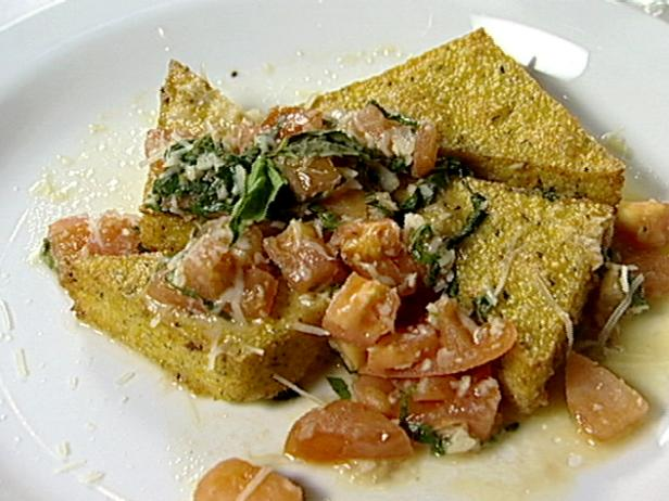 Fried Polenta with Tomato Basil Sauce