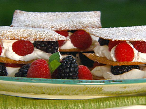 Berry Napoleons with Sugared Wonton Wrappers