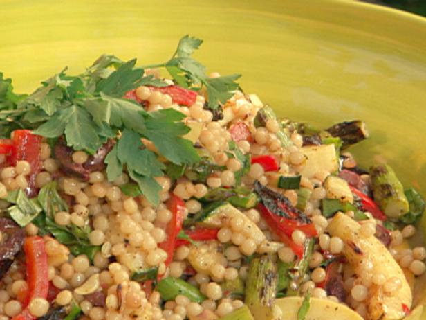 Toasted Israeli Couscous with Vegetables and Lemon-Balsamic Vinaigrette