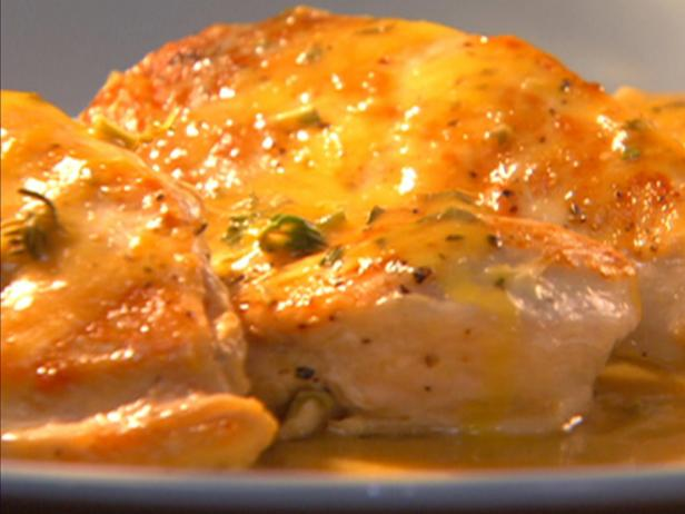 Chicken with Orange-Sage Sauce with Herbed Cheese-Stuffed Bread Twists
