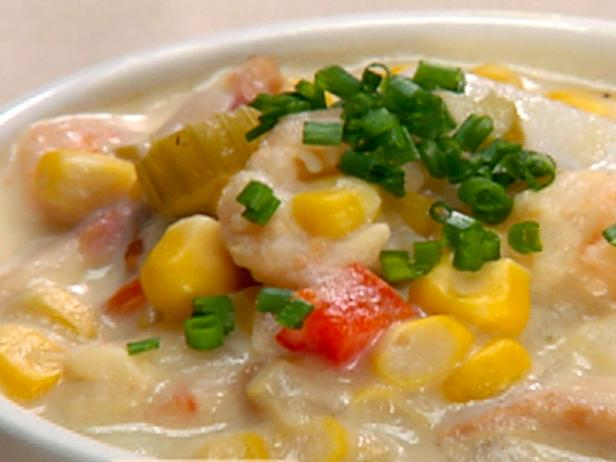 Roasted Corn Chowder with Lime Cured Shrimp