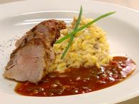 Tenderloin of Pork Hongroise with Crab Risotto and Tri-Pepper Sauce