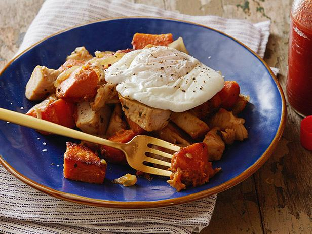 Poached Eggs with Herb-Roasted Turkey Breast and Sweet Potato Hash