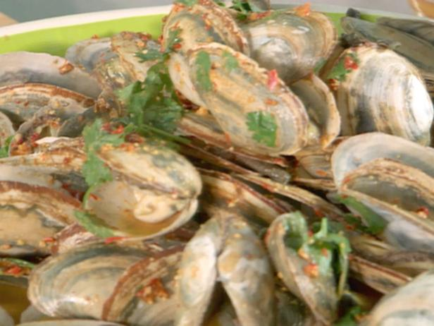 Steamers in Red Chile Pesto Broth