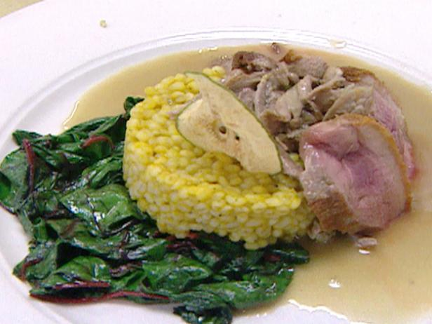 Duck with Pear Sauce and Wilted Greens