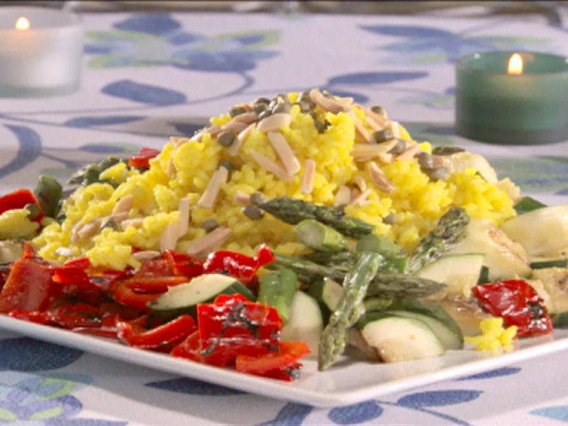 Grilled Vegetables With Saffron Rice Recipe Sandra Lee Food Network